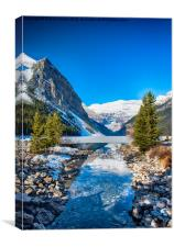 A Stream to the Frozen Lake Louise, Canvas Print