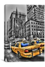 Yellow Cabs Outside Tiffanys, Canvas Print
