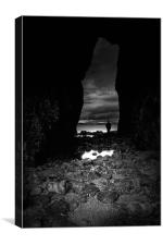 Lydstep cavern,Tenby in Black and White, Canvas Print