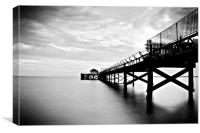 Totland Bay Pier, Isle Of Wight,Black and White, Canvas Print