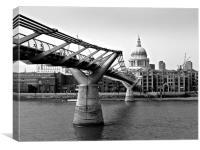 Millennium Bridge to St Pauls, Canvas Print