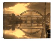 Sepia Tyne, Canvas Print