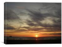 Sunset at weston super mare, Canvas Print
