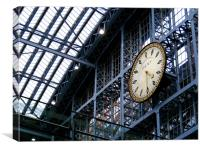 The Clock at St. Pancras, Canvas Print