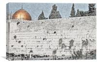 wailing wall and dome of the Rock, Canvas Print