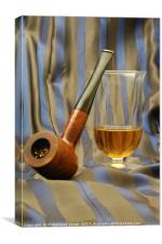 wooden pipe and glass of malt whiskey, Canvas Print
