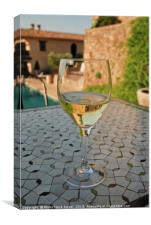 Close up of a chilled glass of white wine, Canvas Print