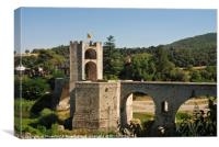 Spain, Catalonia, Besalu, bridge, Canvas Print