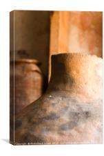 Israel, Achziv, Ancient clay pots on display, Canvas Print