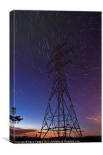 Power line and star trails, Canvas Print