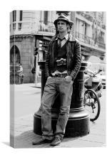 Man with vintage camera, Canvas Print