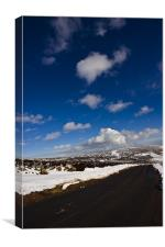Snowy Scottish landscape with a road, Canvas Print