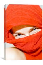 Blue eyes with red scarf, Canvas Print