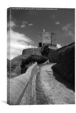 Clitheroe Castle lancashire black and white, Canvas Print