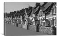 Fishermans cottages in Beer, Canvas Print