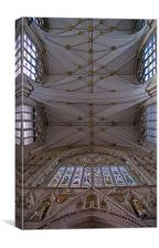 York Minster roof and great door window, Canvas Print