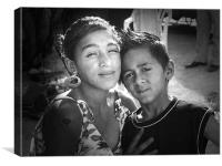 portrait of gipsy sister and brother, Canvas Print
