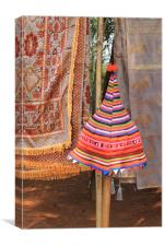Tribe hat and fabric, Canvas Print
