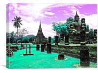 Purple  Buddha Park, Canvas Print