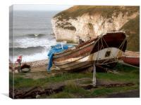 Boats at Thornwick Bay, Canvas Print