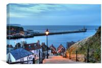 Whitby After Sun Down, Canvas Print