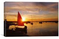Norfolk Staithe, Red Sail and Sunset, Canvas Print