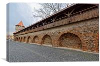 Wooden ramparts of the fortress wall and tower Sib, Canvas Print