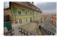 Old building near the Lies bridge Sibiu Romania, Canvas Print