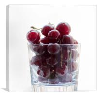 a glass with cherries, Canvas Print