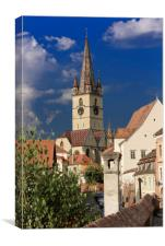 Evangelical Cathedral Sibiu Romania tower on inten