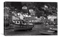 Fishing Boats On The Mud In Polperro, Canvas Print