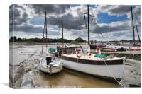 Boats Moored on Woodbridge Bank   , Canvas Print