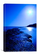 Lyme Regis beach in blue., Canvas Print