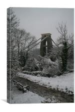 clifton suspension bridge in snow, Canvas Print