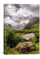 Looking along the River Coe to Glencoe, Canvas Print