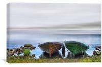 Boats in the Mist Scotland, Canvas Print