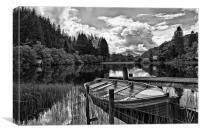 Loch Ard black and white Scotland, Canvas Print