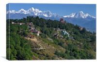 View of the Himalayas from Nagarkot Nepal, Canvas Print