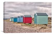 Beach Huts by Findhorn Beach, Canvas Print