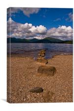 Stepping Stones, Millarachy Bay, Loch Lomond, Canvas Print