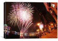 Fireworks over Royal Victoria Dock, London, Canvas Print