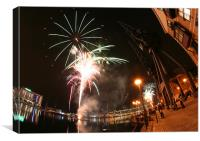 Firework display at Royal Victoria Dock, London, Canvas Print