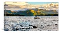 Boating on Lake Ullswater, Canvas Print