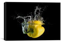 Yellow Pepper Splash, Canvas Print