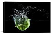 Green Pepper Splash., Canvas Print