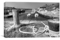 Tied up in Ballintoy Harbour, Canvas Print