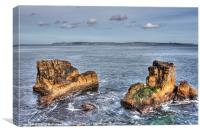 Rocks and Rathlin, Canvas Print