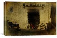 An Old Irish Hearth, Canvas Print