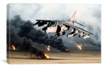Low-level Harrier over burning oil wells, Canvas Print