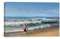Boy on Ballycastle beach, Canvas Print
